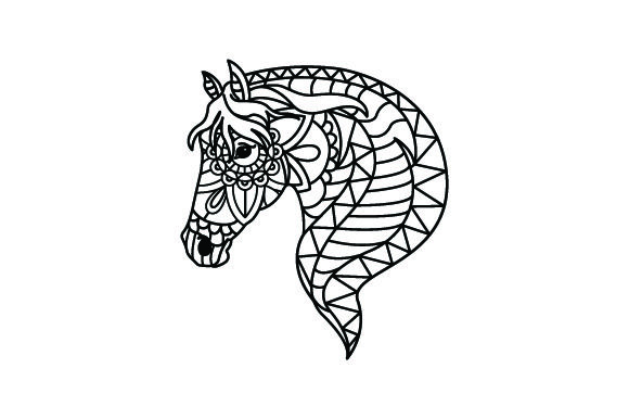 Download Free Horse Head Mandala Line Art Style For Coloring Book Svg Cut SVG Cut Files