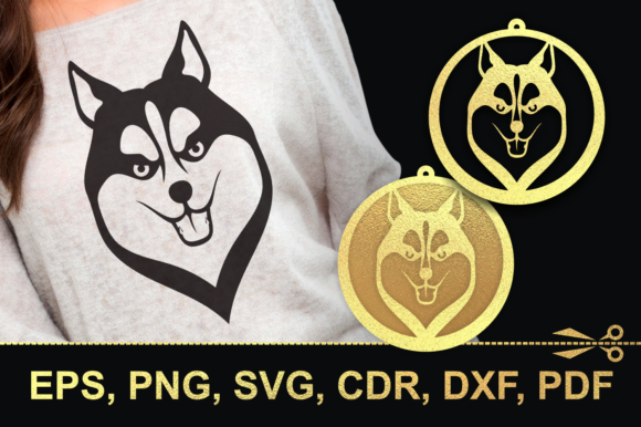 Print on Demand: Husky-2 Cutting Files and Earrings Graphic Crafts By Olga Belova