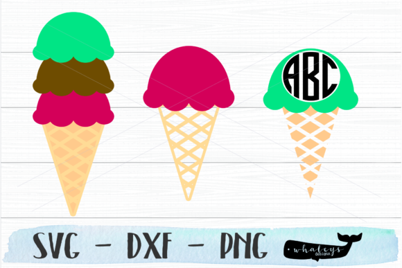 Download Free Ice Cream Cone Summer Monogram Svg Graphic By Whaleysdesigns for Cricut Explore, Silhouette and other cutting machines.