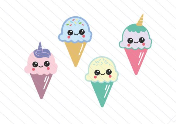 Download Free Ice Cream Kawaii Ice Cream Clipart Graphic By Betta Mayer for Cricut Explore, Silhouette and other cutting machines.