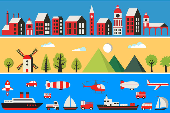 Print on Demand: Illustration of a Flat City with Skyscra Graphic Illustrations By AlexZel