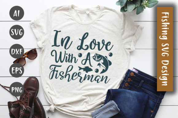 Print on Demand: In Love with a Fisherman  SVG Design Graphic Crafts By CreativeArt