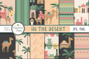 In the Desert-camels Paper Graphic By poppymoondesign