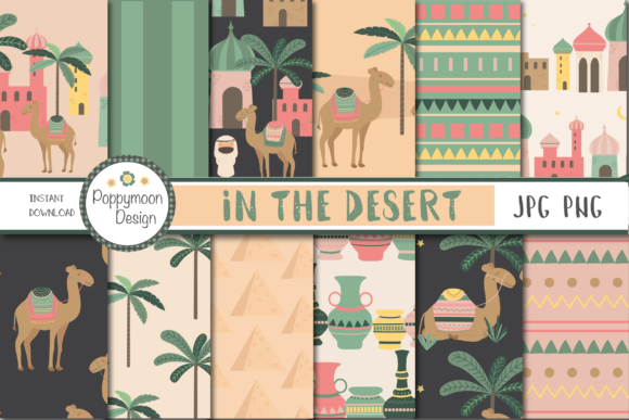 Print on Demand: In the Desert-camels Paper Graphic Patterns By poppymoondesign