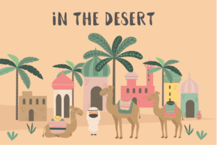 In the Desert-camels Graphic By poppymoondesign