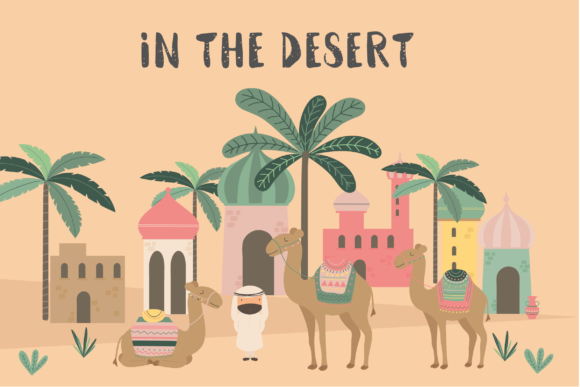 Print on Demand: In the Desert-camels Graphic Illustrations By poppymoondesign