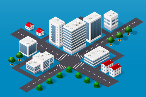 Print on Demand: Isometric 3D Cityscape Graphic Objects By AlexZel
