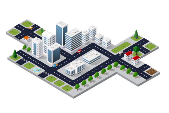 Download Free Isometric 3d Cityscape View Graphic By Alexzel Creative Fabrica for Cricut Explore, Silhouette and other cutting machines.