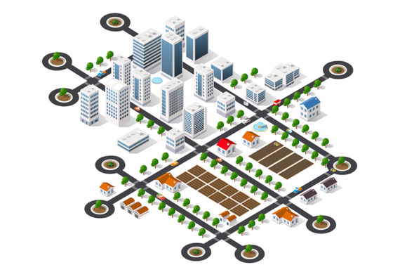 Print on Demand: Isometric 3D Cityscape View Graphic Illustrations By AlexZel