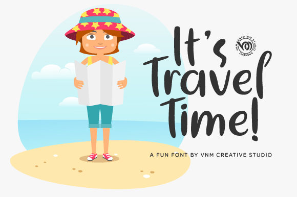 Print on Demand: It's Travel Time Display Font By VNM Creative Studio