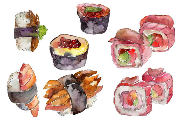 Download Free Japanese Sushi Watercolor Graphic By Mystocks Creative Fabrica for Cricut Explore, Silhouette and other cutting machines.