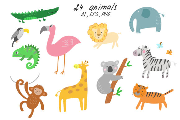 Jungle Animals Clip Art Graphic Illustrations By Ukulikki - Image 2