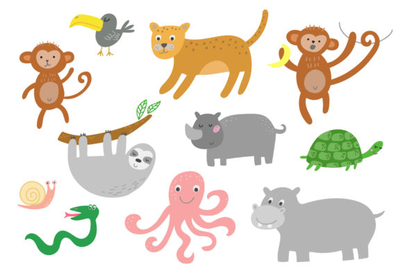 Jungle Animals Clip Art Graphic Illustrations By Ukulikki - Image 3
