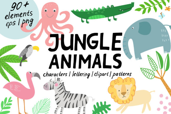 Jungle Animals Clip Art Graphic Illustrations By Ukulikki
