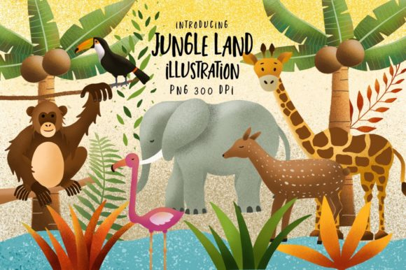 Print on Demand: Jungle Land Illustration Graphic Illustrations By Caoca Studio