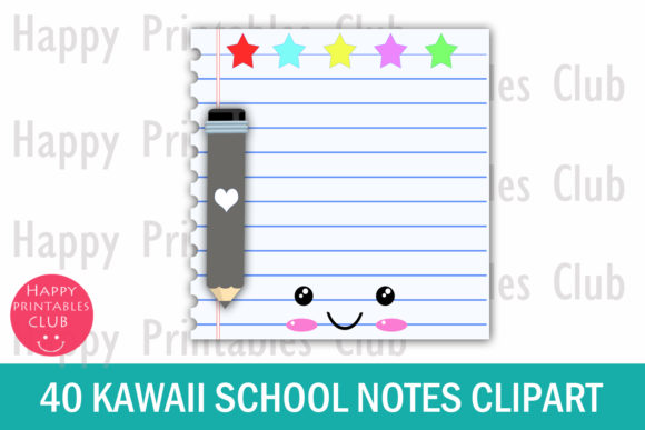 Download Free Kawaii School Notes Clipart Graphics Graphic By Happy Printables for Cricut Explore, Silhouette and other cutting machines.
