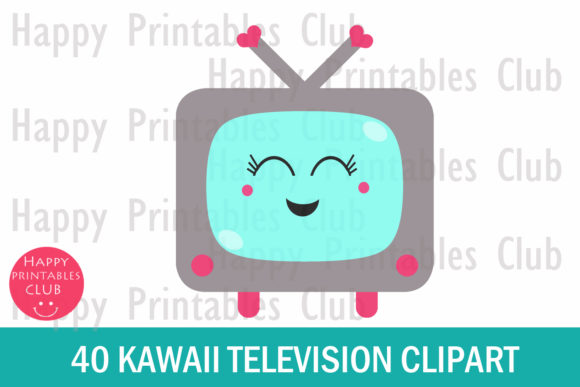 Print on Demand: Kawaii Television Clipart- Cute TV Graphic Illustrations By Happy Printables Club - Image 2