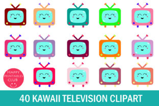 Kawaii Television Clipart- Cute TV Graphic By Happy Printables Club