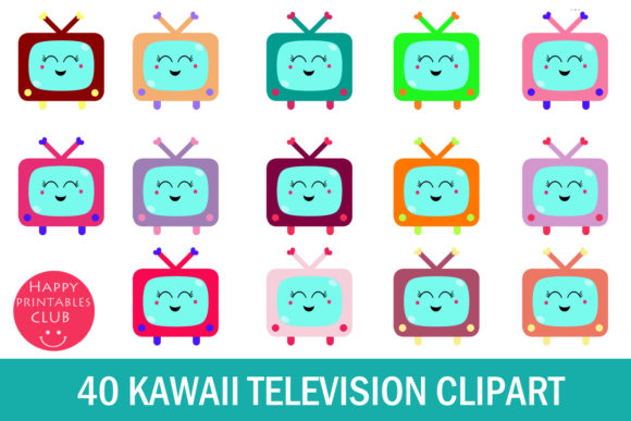 Print on Demand: Kawaii Television Clipart- Cute TV Grafik Illustrationen von Happy Printables Club