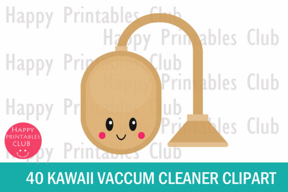 Print on Demand: Kawaii Vacuum Cleaner Clipart Graphics Graphic Illustrations By Happy Printables Club - Image 2