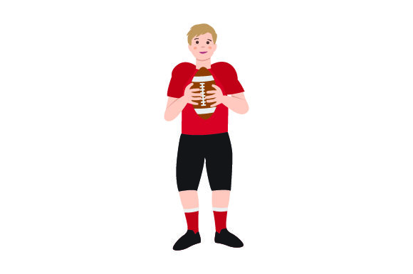 Kid Holding American Football Sports Craft Cut File By Creative Fabrica Crafts