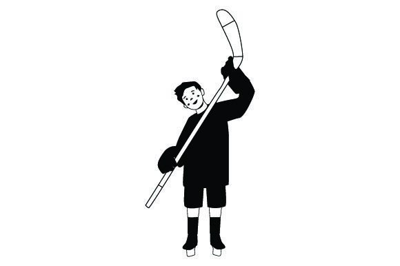 Download Free Kid Holding Hockey Stick Svg Cut File By Creative Fabrica Crafts for Cricut Explore, Silhouette and other cutting machines.