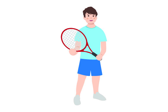 Download Free Kid Holding Tennis Racket Svg Cut File By Creative Fabrica for Cricut Explore, Silhouette and other cutting machines.