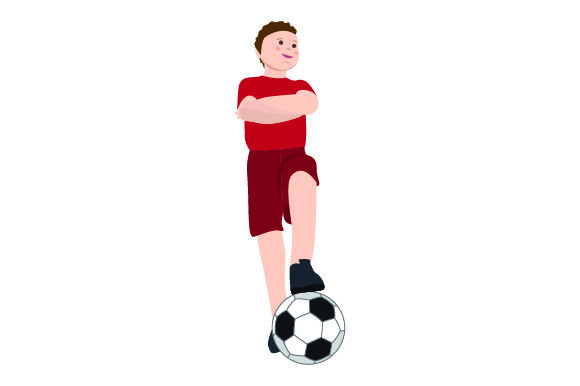 Download Free Kid With Foot On Soccer Ball Svg Cut File By Creative Fabrica for Cricut Explore, Silhouette and other cutting machines.