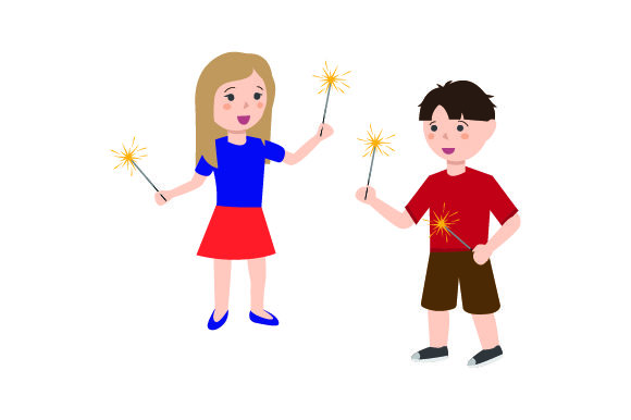 Kids Holding Sparklers Independence Day Craft Cut File By Creative Fabrica Crafts