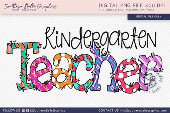 Kindergarten Teacher Graphic Crafts By Southern Belle Graphics