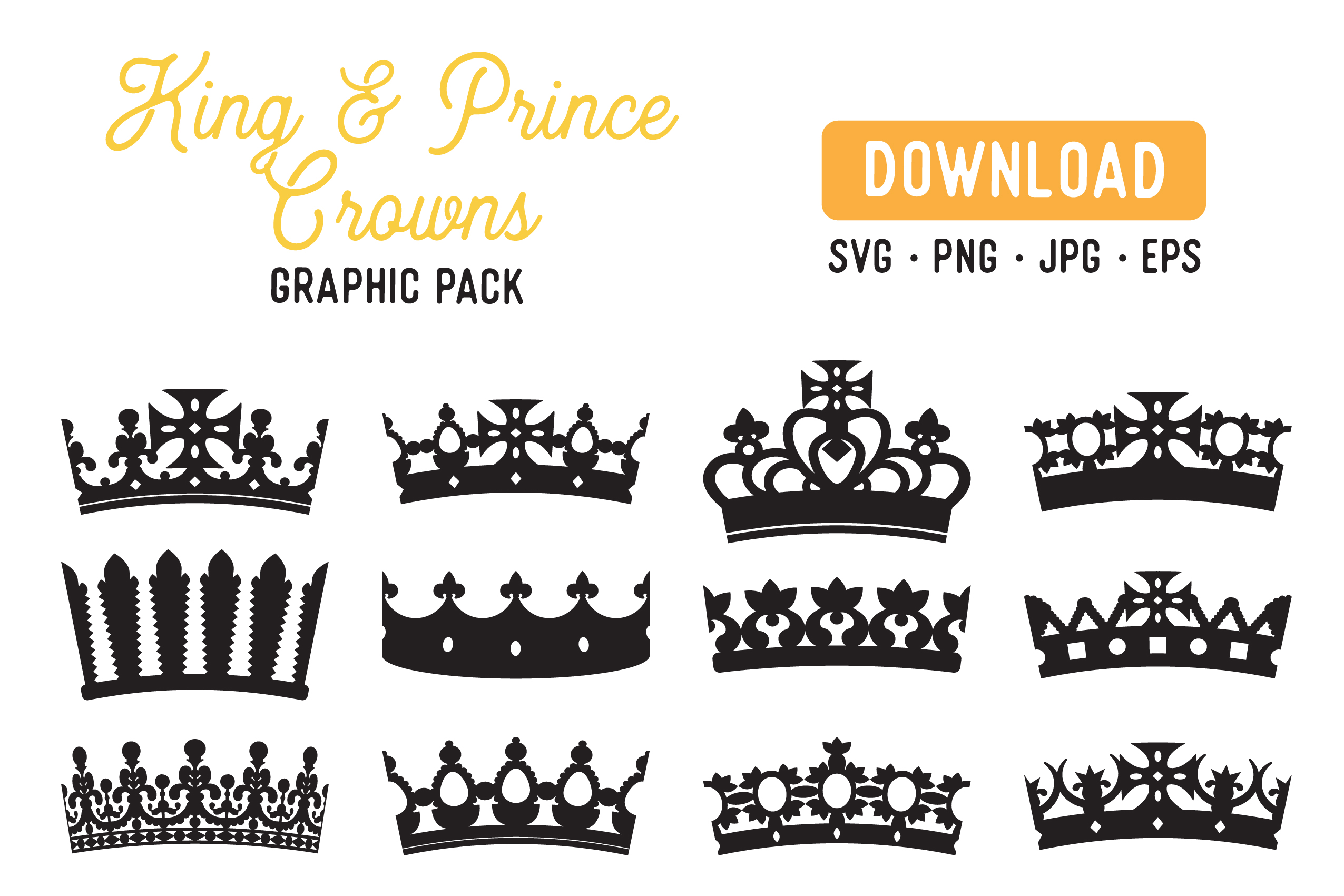 Download Free King Crown Prince Crown Graphic Pack Graphic By The Gradient Fox for Cricut Explore, Silhouette and other cutting machines.