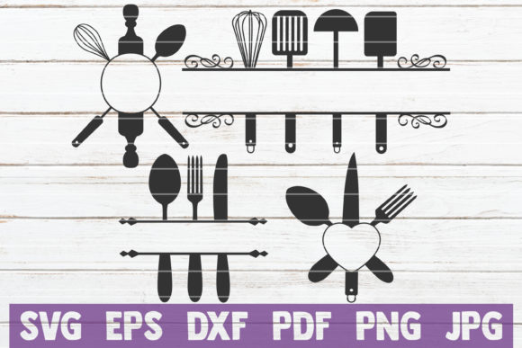 Kitchen Monograms SVG Bundle | Cut Files Graphic Graphic Templates By MintyMarshmallows