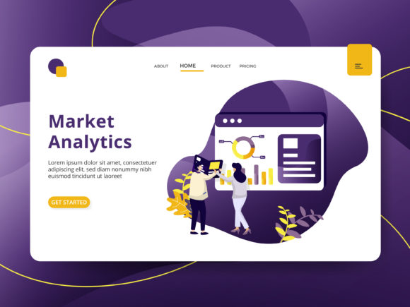 Landing Page Market Analytic Graphic Illustrations By Twiri