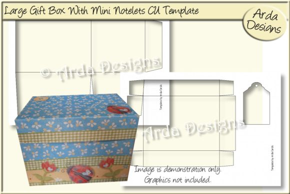 Print on Demand: Large Gift Box CU Template Graphic Print Templates By Arda Designs