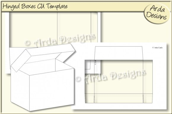 Print on Demand: Large & Small Hinged Boxes CU Boxes Graphic Print Templates By Arda Designs