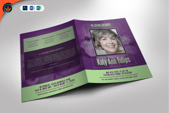 Lavender Plus Green Funeral Program Graphic By seraphimchris