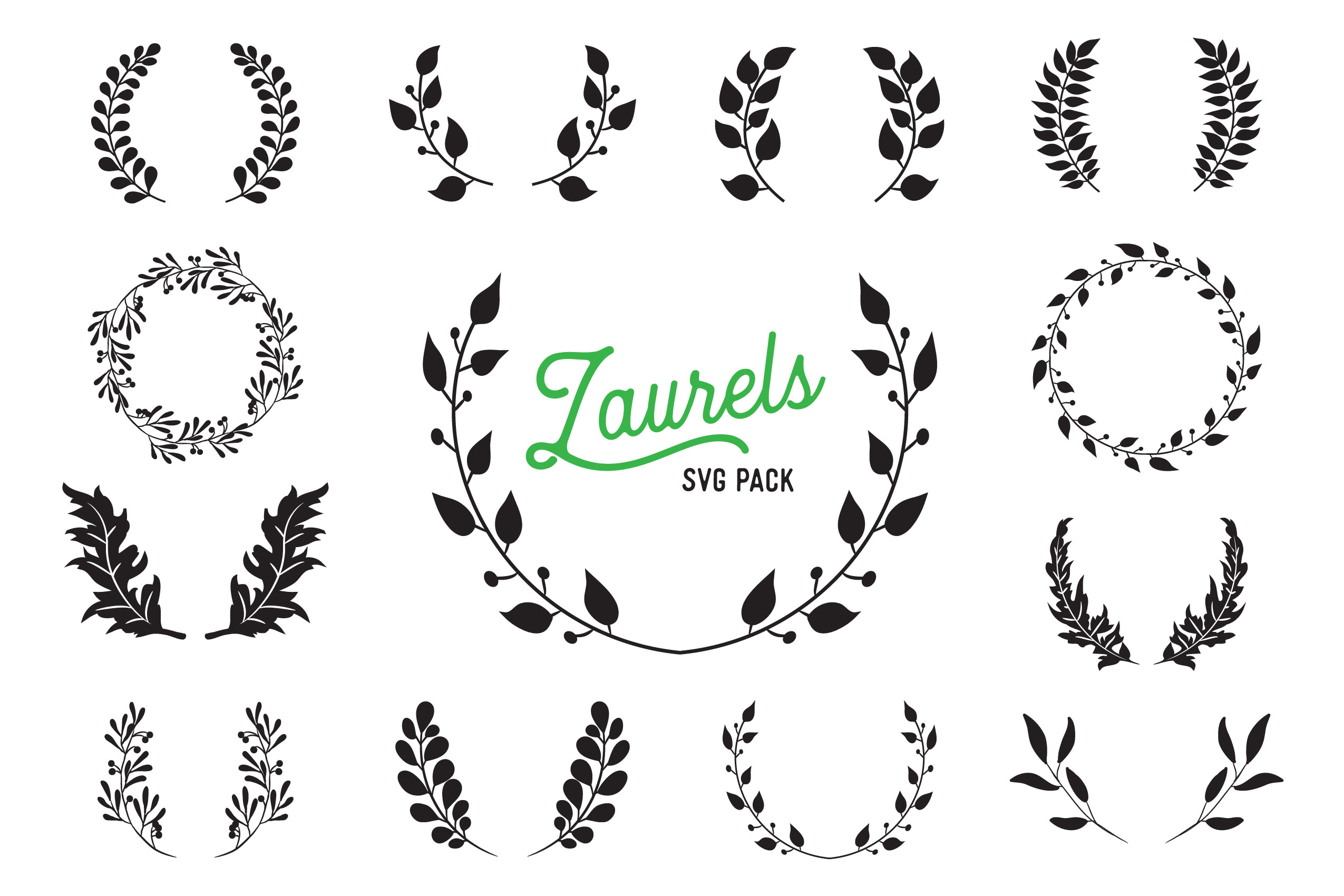 Download Free Leaf Laurel Vector Design Bundle Graphic By The Gradient Fox for Cricut Explore, Silhouette and other cutting machines.
