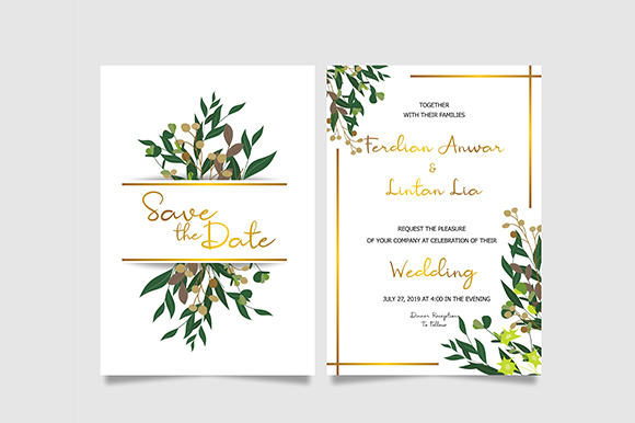 Download Free Leaf Wedding Invitation Template Graphic By Bint Studio for Cricut Explore, Silhouette and other cutting machines.