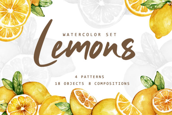 Print on Demand: Lemonade Watercolor Set Graphic Illustrations By Typia Nesia - Image 1