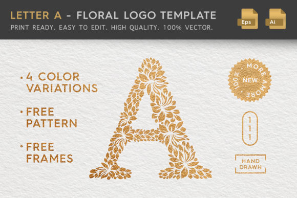Download Free Letter A Floral Logo Template Graphic By Textures Creative for Cricut Explore, Silhouette and other cutting machines.