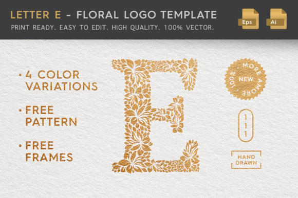 Letter E - Floral Logo Template Graphic Logos By Textures