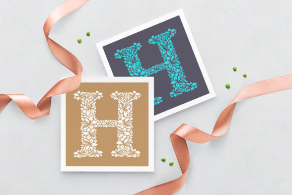 Letter H - Floral Logo Template Graphic Logos By Textures - Image 3