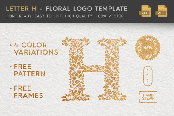 Letter H - Floral Logo Template Graphic By Textures