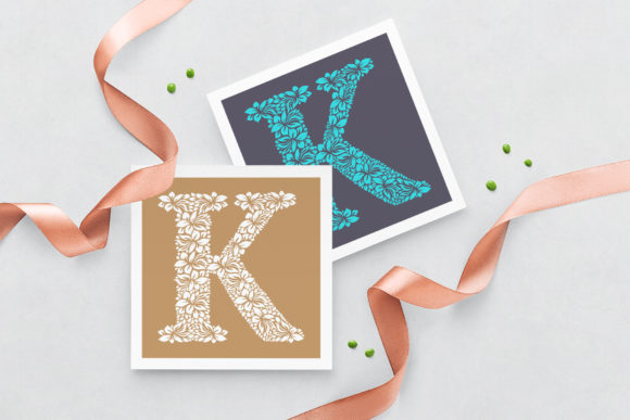 Letter K - Floral Logo Template Graphic Logos By Textures - Image 3