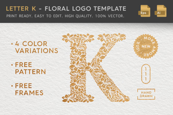 Letter K - Floral Logo Template Graphic Logos By Textures - Image 1