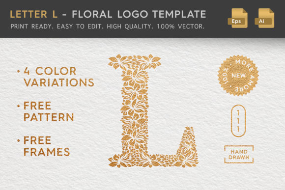 Letter L - Floral Logo Template Graphic Logos By Textures - Image 1