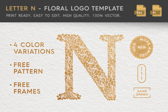 Letter N - Floral Logo Template Graphic Logos By Textures