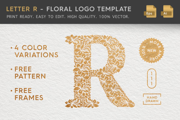 Download Free Letter R Floral Logo Template Graphic By Textures Creative for Cricut Explore, Silhouette and other cutting machines.