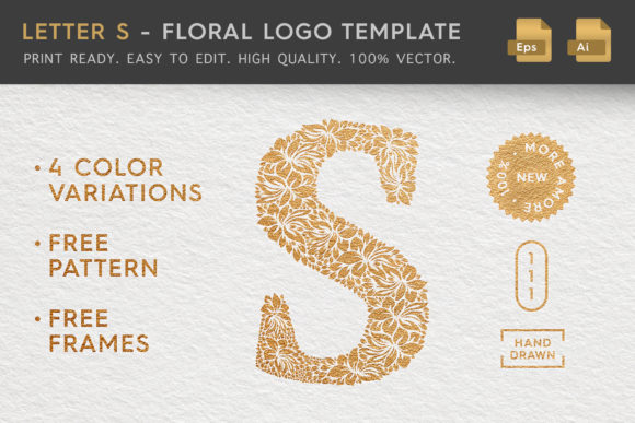 Letter S - Floral Logo Template Graphic Logos By Textures