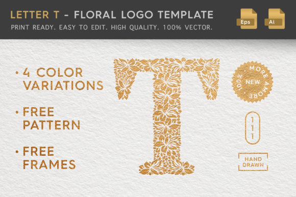 Download Free Letter T Floral Logo Template Graphic By Textures Creative for Cricut Explore, Silhouette and other cutting machines.